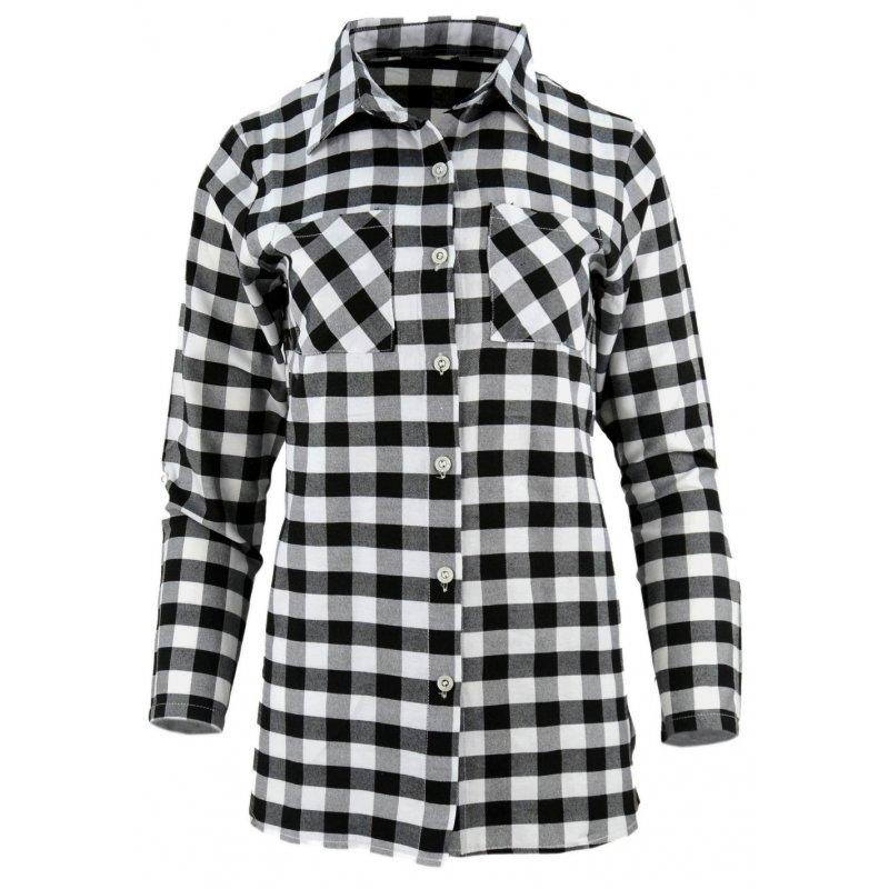 Super Koszula damska w kratkę z dłuższym tyłem (czarno-biała) | eStilex CJ72