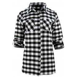 Koszula damska w kratkę z dłuższym tyłem (czarno-biała)