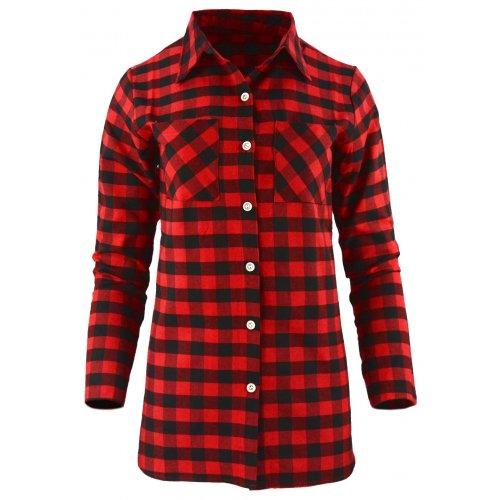 Koszula damska w kratkę z dłuższym tyłem (czerwono-czarna)