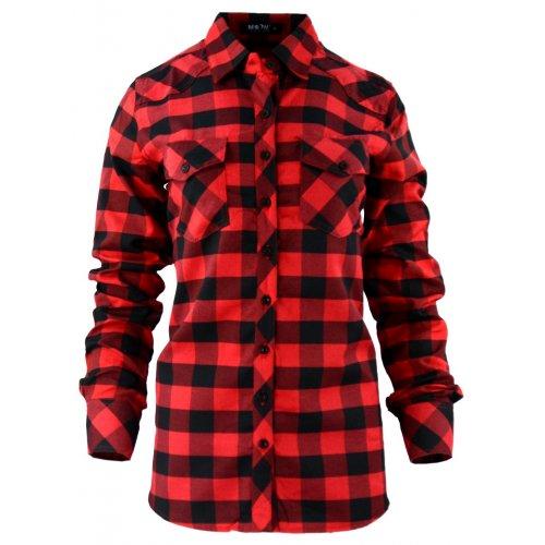 Damska koszula w czerwono-czarną kratkę 36-44
