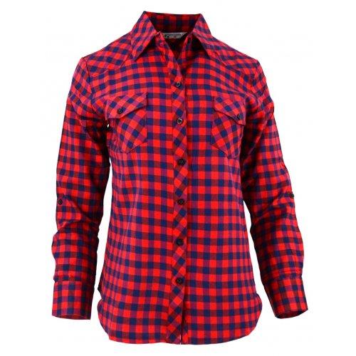 Damska koszula w drobną czerwono-granatową kratkę