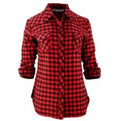 Damska koszula w drobną czerwono-czarną kratkę
