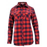 Damska koszula w szeroką kratę granatowo-czerwona