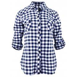 Damska koszula w drobną biało-granatową kratkę