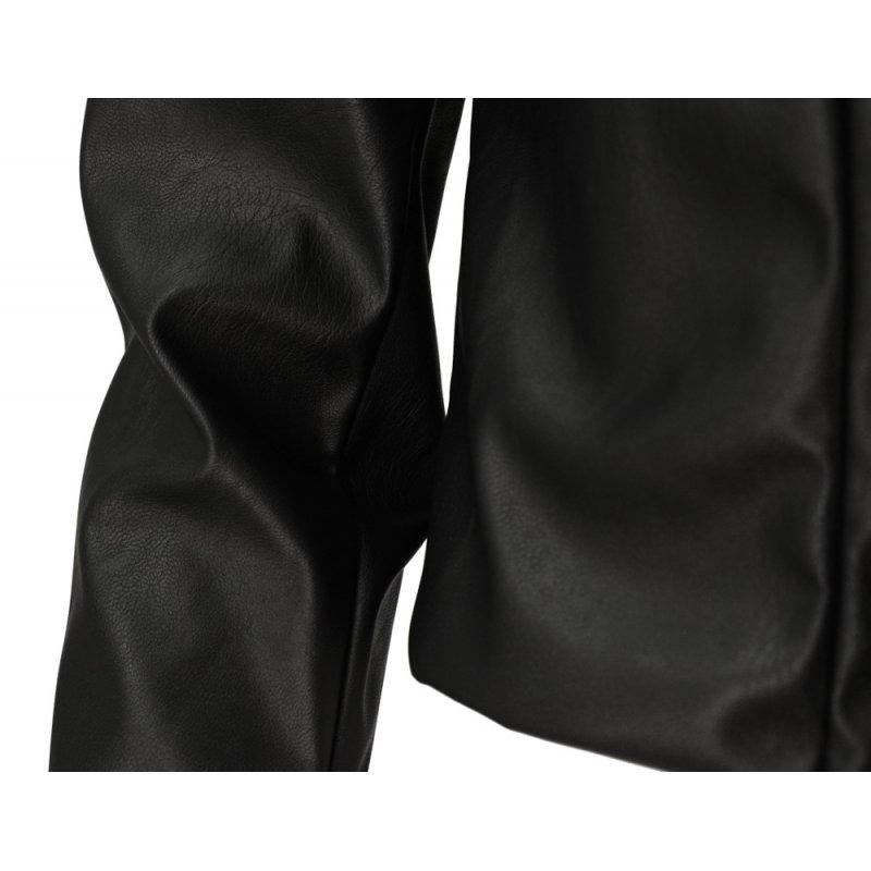 Damski żakiet z ekoskóry z poduszkami na ramionach (czarny)