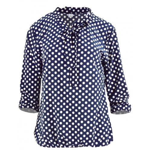 Elegancka bluzka damska w kropki z wiązaniem z przodu