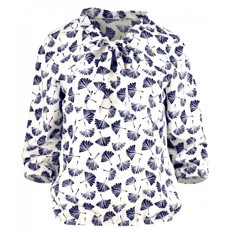 Elegancka bluzka damska w kwiaty z wiązaniem z przodu