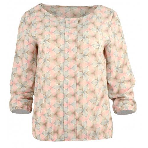 Elegancka bluzka w pastelowe kwiaty z kontrafałdą