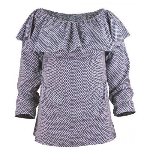 Bluzka hiszpanka w granatowy- różowy deseń