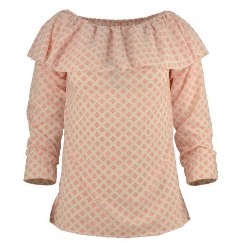 Bluzka hiszpanka orientalny wzór pastelowy róż