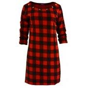 Tunika sukienka w kratkę ze złotymi kółkami (czarno- czerwona)