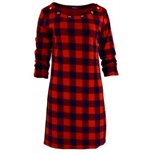 Tunika sukienka w kratkę ze złotymi kółkami (granatowo- czerwona)