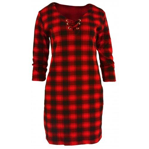 Tunika sukienka w kratkę ze sznurowaniem na dekolcie Czarno-Czerwona