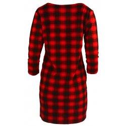 Tunika sukienka w kratkę ze sznurowaniem na dekolcie (czarno- czerwona)