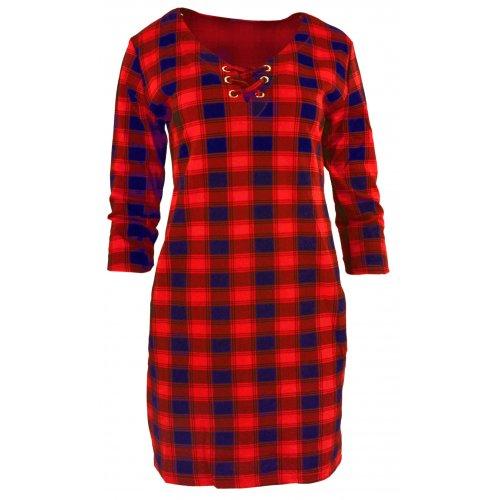 Tunika sukienka w kratkę ze sznurowaniem na dekolcie Granatowo-Czerwona