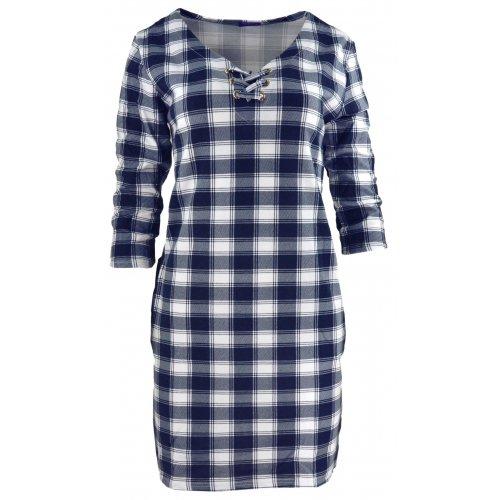 Tunika sukienka w kratkę ze sznurowaniem na dekolcie (biało-granatowa)