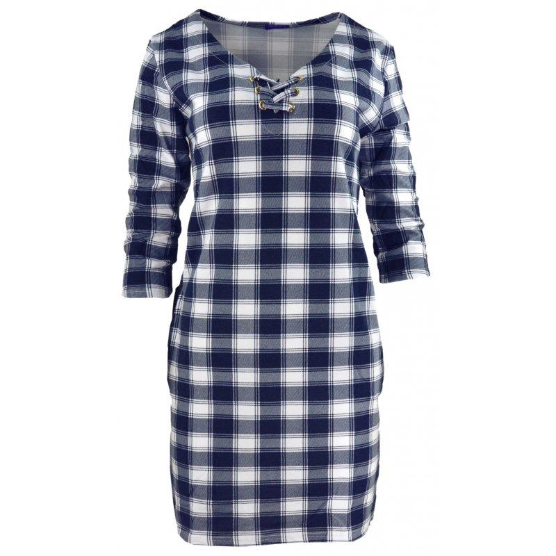 5076f18435 Tunika sukienka w kratkę ze sznurowaniem na dekolcie (biało-granatowa)