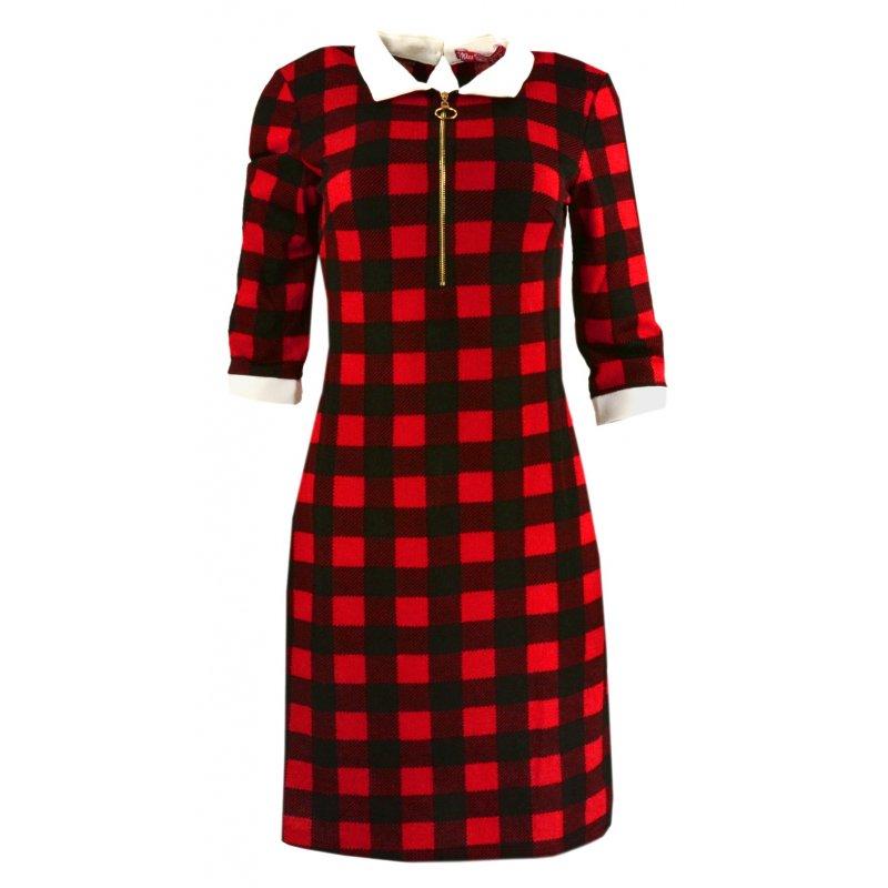 Tunika sukienka w kratkę typu pensjonarka (czarno-czerwona)