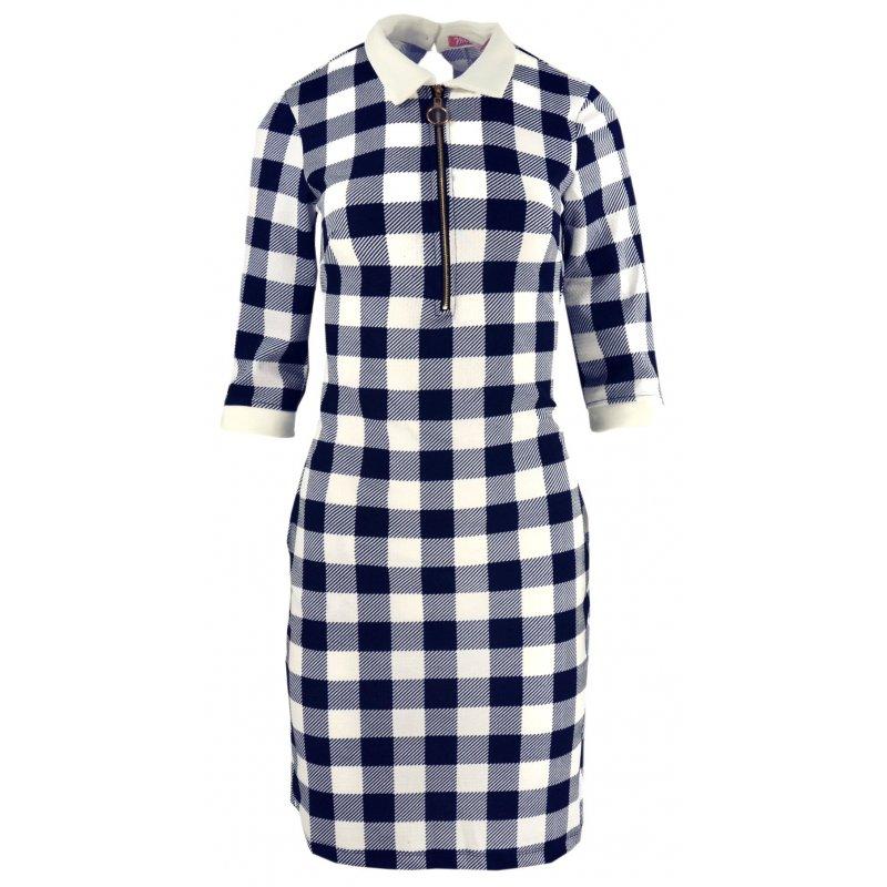 Tunika sukienka w kratkę typu pensjonarka (biało-granatowa)