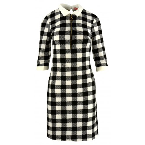 Tunika sukienka w kratkę typu pensjonarka (biało-czarna)