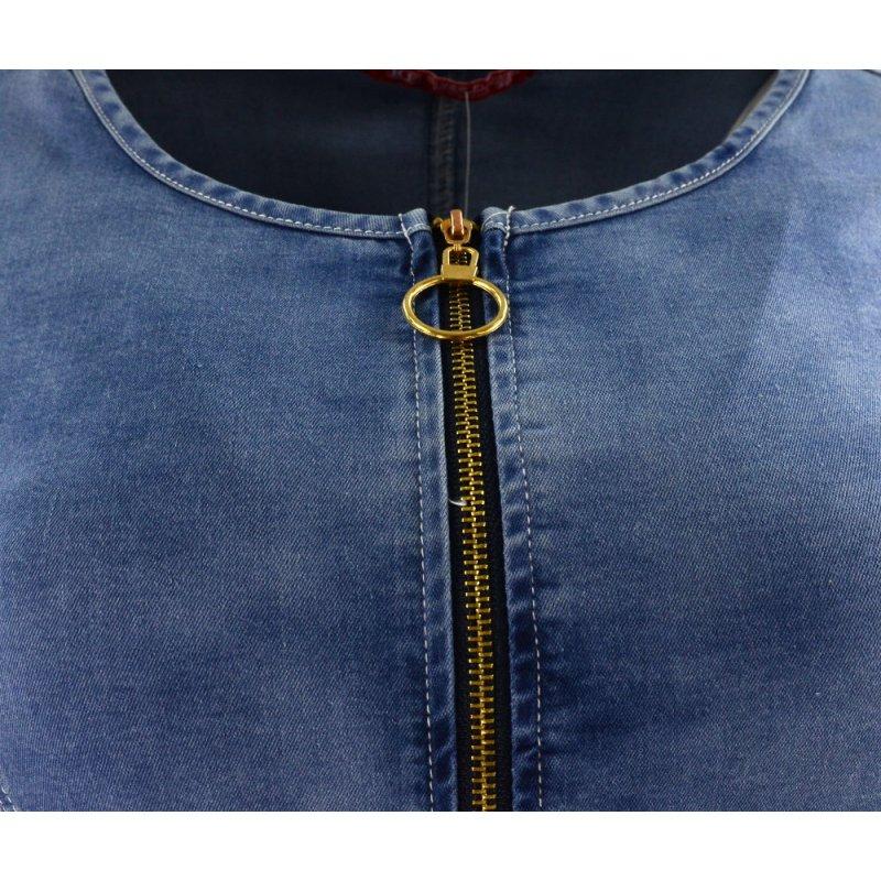 Jeansowa sukienka ołówkowa rozsuwana na zamek