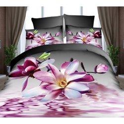 Pościel 3D w kwiaty 160x200 WZ .8 Fiolet Róż Fuksja