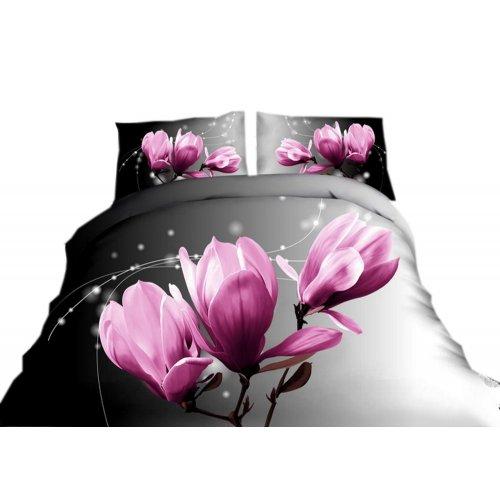 Pościel 3D w kwiaty 160x200 WZ .2 kwiatki fiolet róż fuksja