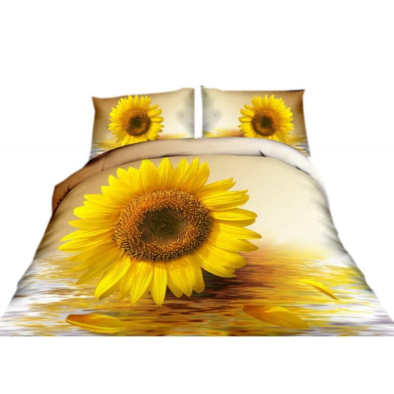 Pościel 3D w kwiaty 160x200 WZ .4 Pościel w słoneczniki