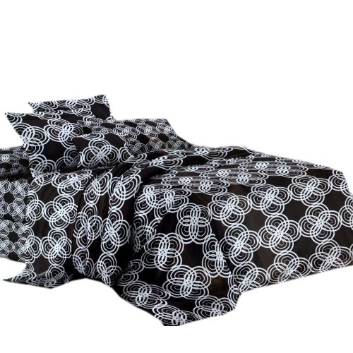 Pościel czarno biała 160X200 WZ. 5 Białe kółka na czarnym tle
