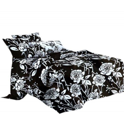 Duże czarno białe kwiaty Pościel 3D