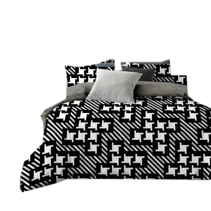 Pościel satyna bawełniana 160x200 NOWOCZESNA WZ. 1 3D biało czarna Pepitka