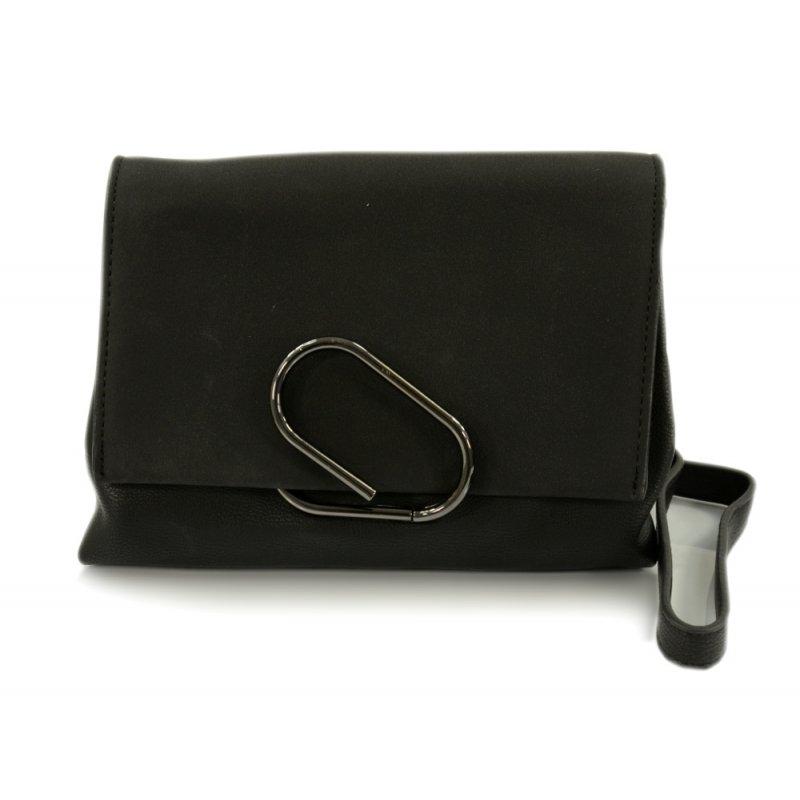 Mała torebka listonoszka z ozdobnym zapięciem (czarna)