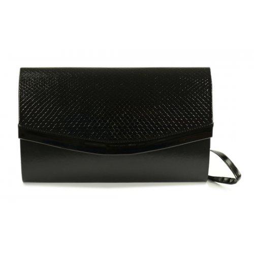 Czarna torebka z lakierowaną klapą wąż