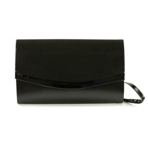 Czarna torebka z lakierowaną klapą drobny wzór