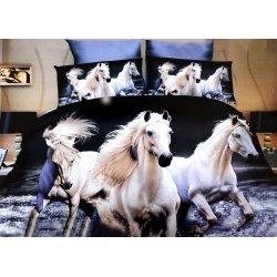 Pościel 3D ZWIERZĘTA 160x200 WZ. 1 Białe Konie