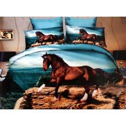 Pościel 3D ZWIERZĘTA 160x200 WZ. 3 Brązowy koń