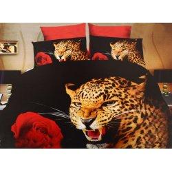 Pościel 3D ZWIERZĘTA 160x200 WZ. 9 Gepard z różą