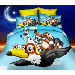 Pościel 3D dla dzieci 160x200 WZ. 8 Zwierzęta na ptaku