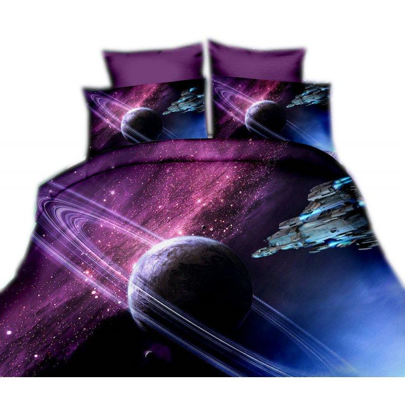 Pościel 3D KOSMOS 160x200 WZ. 9 Galaktyka fioletowa
