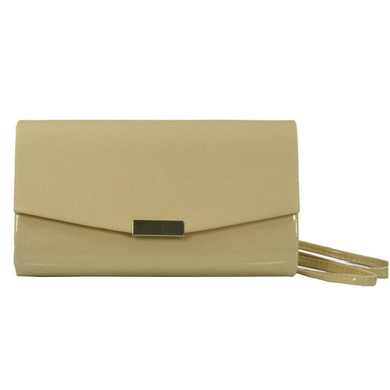 Klasyczna torebka kopertówka lakier+mat (beżowa)