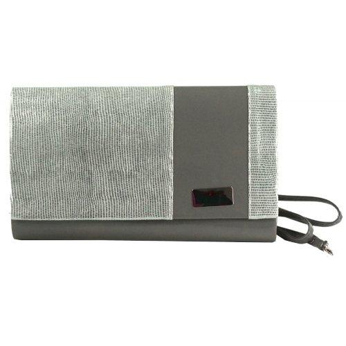 Błyszcząca kopertówka (szary+ srebro)