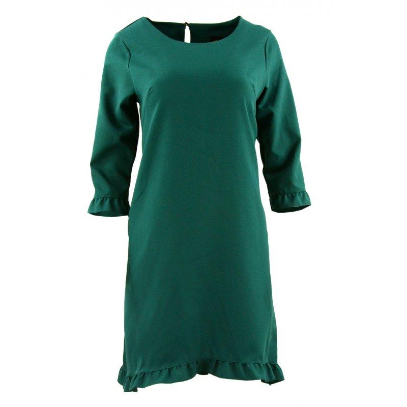 Sukienka trapezowa z małymi falbankami (butelkowa zieleń)