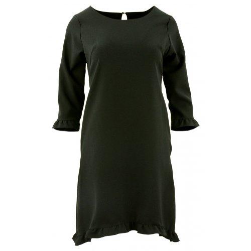 Sukienka trapezowa z małymi falbankami (czarna)