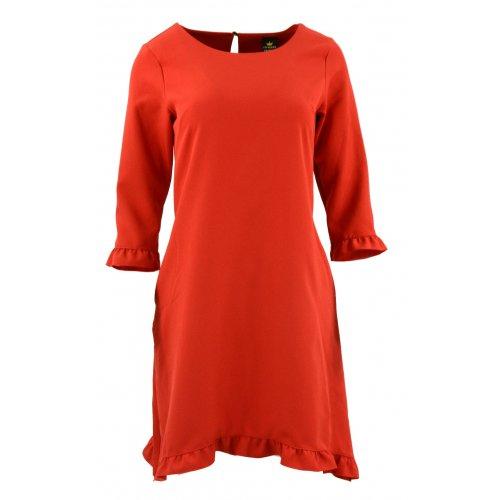 Sukienka trapezowa z małymi falbankami (czerwona)