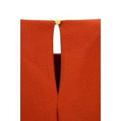 Sukienka trapezowa z małymi falbankami (ceglasta)