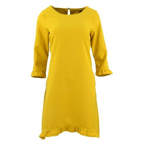 Sukienka trapezowa z małymi falbankami (musztardowa)