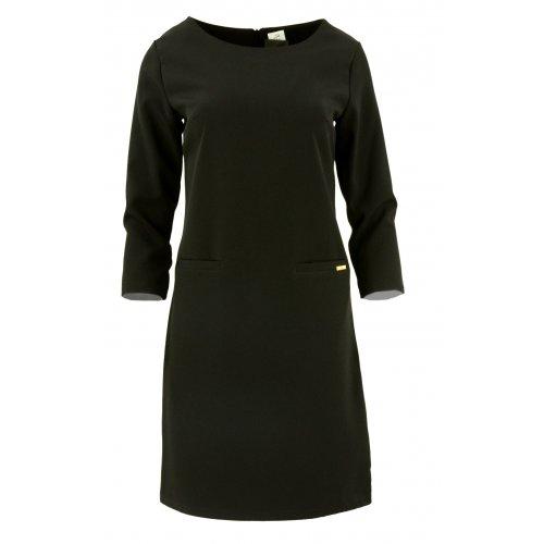 Sukienka trapezowa z ozdobnymi kieszeniami (czarna)