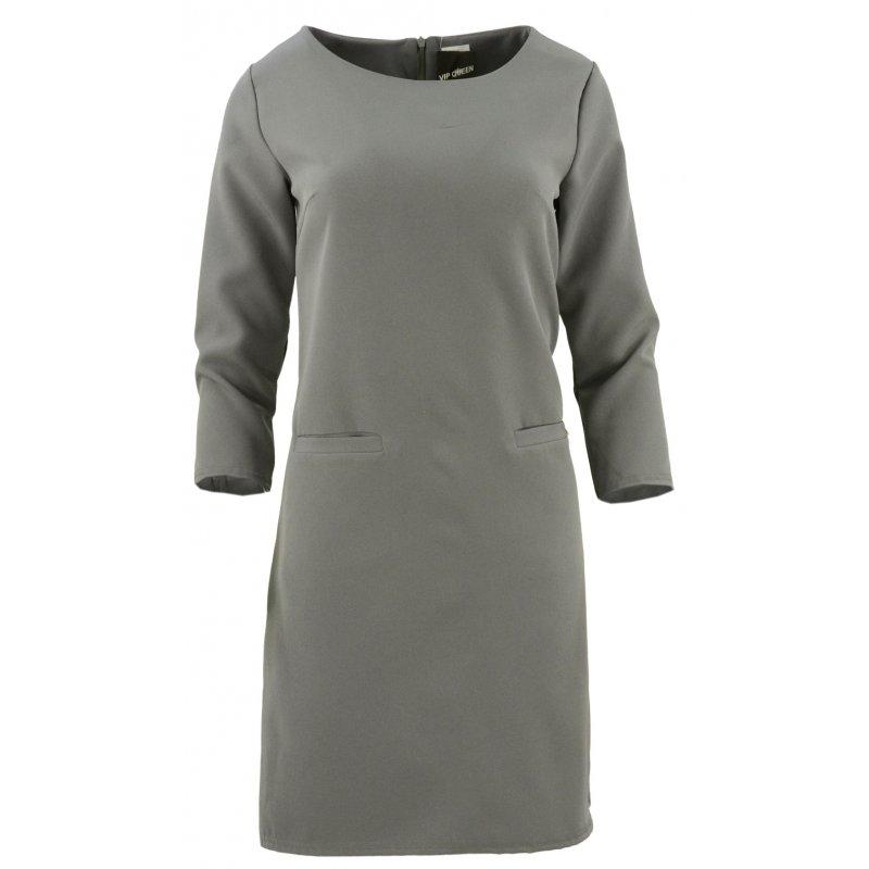 Sukienka trapezowa z ozdobnymi kieszeniami (ciemnoszara)