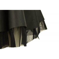 Spódnica rozkloszowana z eko skóry podszyta tiulem (czarna)
