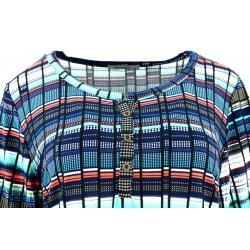 Bluzka damska w kolorowe paski (niebieska)